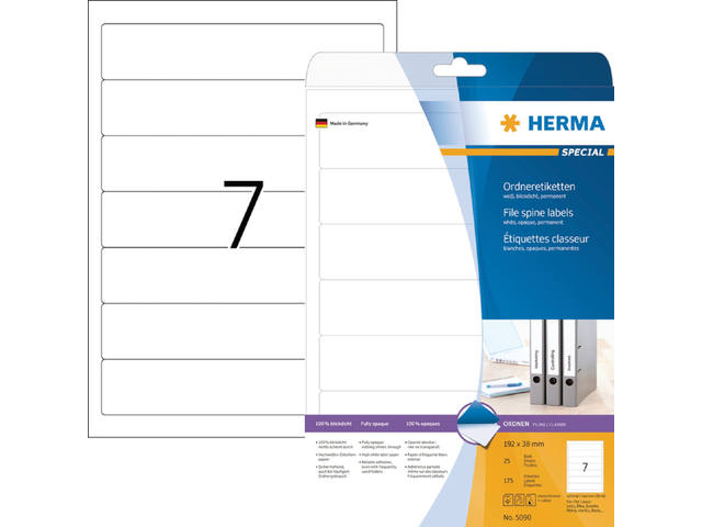 RUGETIKET HERMA 5090 192X38MM 175ST A4 WIT