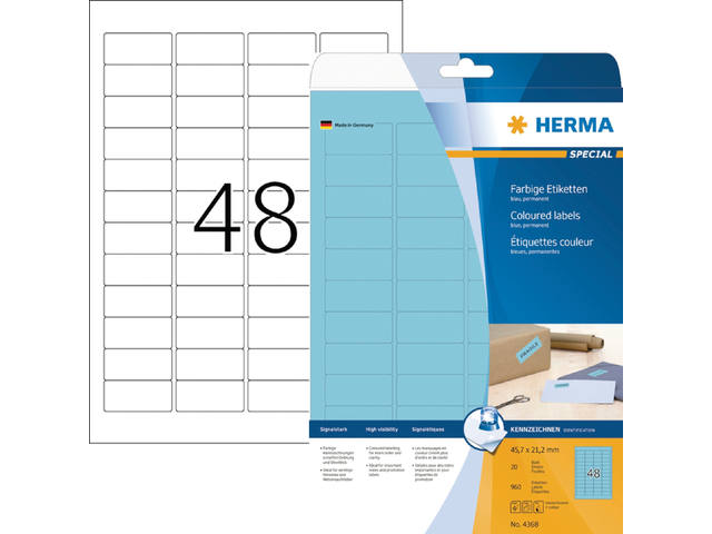 ETIKET HERMA 4368 45.7X21.2MM A4 960ST BLAUW