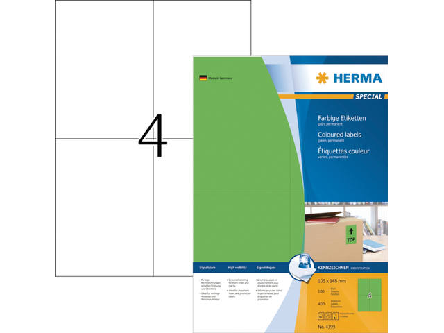 ETIKET HERMA 4399 105X148MM A4 400ST GROEN