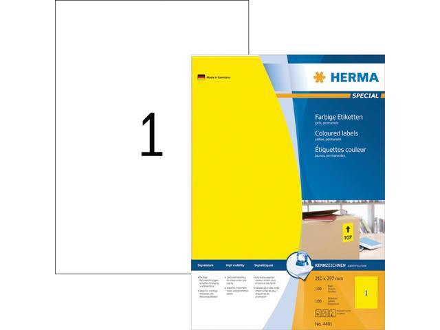 ETIKET HERMA 4401 210X297MM A4 100ST GEEL 1