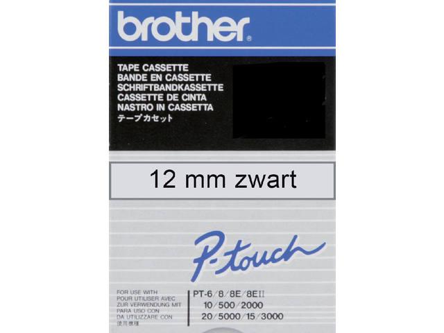 LABELTAPE BROTHER TC-101 12MMX8M TR/ZWART