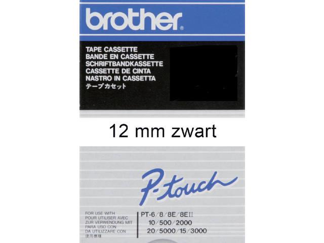 LABELTAPE BROTHER TC-201 12MMX8M WIT/ZWART