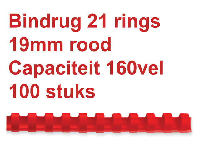 BINDRUG GBC 19MM 21RINGS A4 ROOD