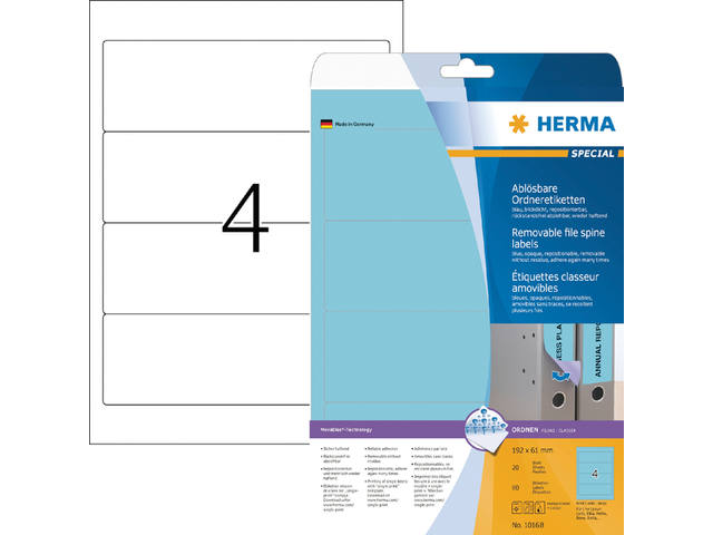 RUGETIKET HERMA MOVABLE 10168 192X61MM 80ST BLAUW