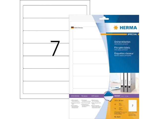 RUGETIKET HERMA 8620 192X38MM 70ST WIT