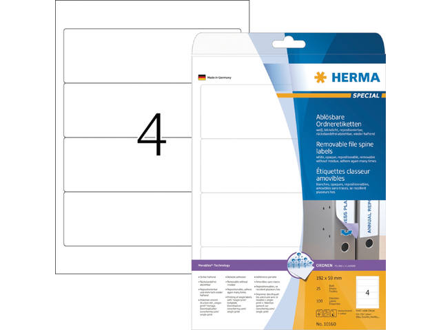 RUGETIKET HERMA MOVABLE 10160 192X59MM 100ST WIT