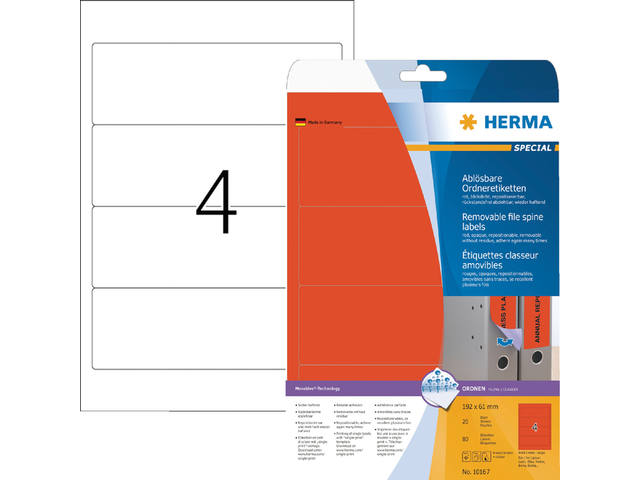 RUGETIKET HERMA MOVABLE 10167 192X61MM 80ST ROOD
