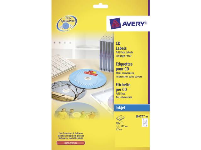 ETIKET AVERY CD J8676-25 50ST
