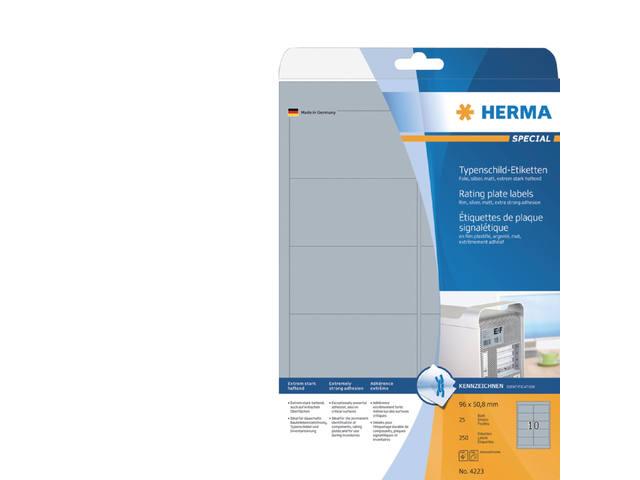 ETIKET HERMA 4223 96X50.8MM ZILVER 250ST