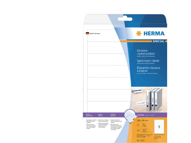 RUGETIKET HERMA 5122 190X30MM INSTEEK 125ST