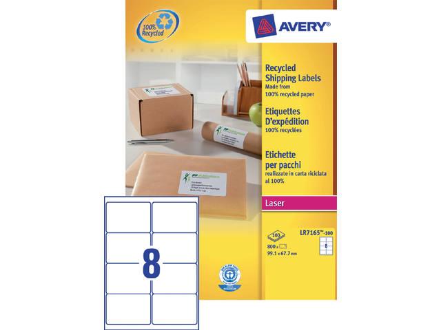ETIKET AVERY LR7165-100 99.1X67.7MM 800ST RECY
