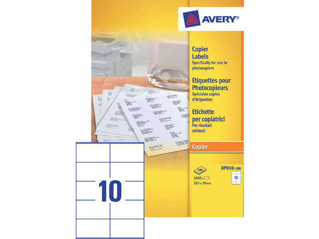 ETIKET AVERY DP010-100 105X58MM 1000ST