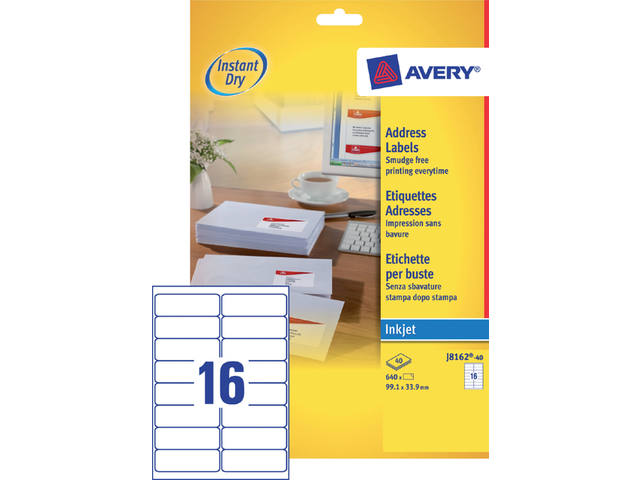 ETIKET AVERY J8162-40 99.1X33.9MM 640ST 1