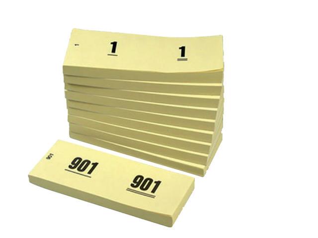 NUMMERBLOK 42X105MM NUMMERING 1-1000 GEEL 10STUK