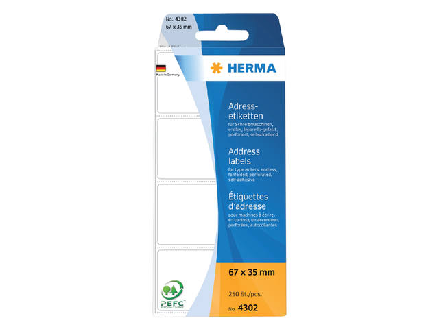 ETIKET HERMA ADRES 4302 67X35MM 250ST LEPORELLO