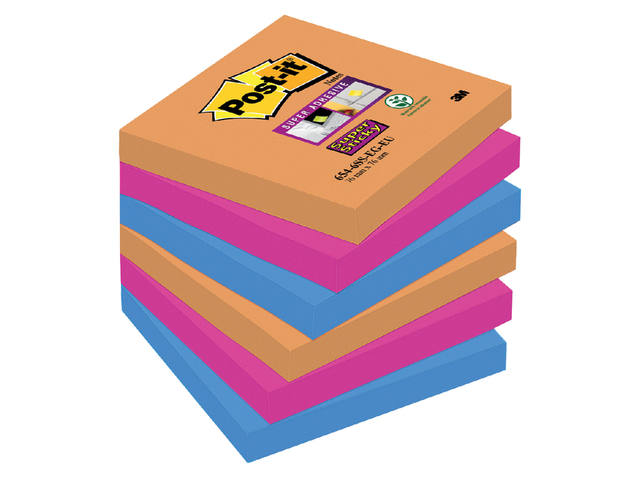 MEMOBLOK 3M POST-IT 654-SSEG 76X76MM SS OR/RZ/BL 1