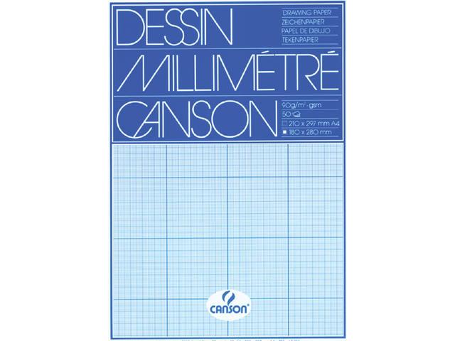 MILLIMETERBLOK CANSON A4 90GR BLAUW