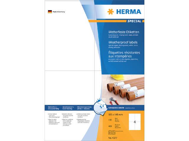 ETIKET HERMA 4377 105X148MM WEERBESTENDIG 400ST WT