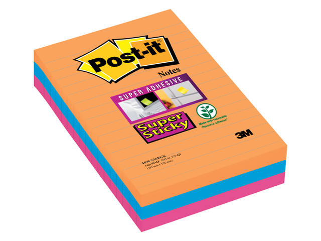 MEMOBLOK 3M POST-IT 4960 SUPER STICKY 101X152MM BK 1
