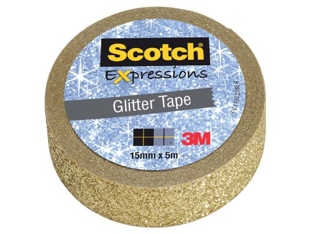PLAKBAND 3M SCOTCH EXPRESSIONS GLITTER GOLD