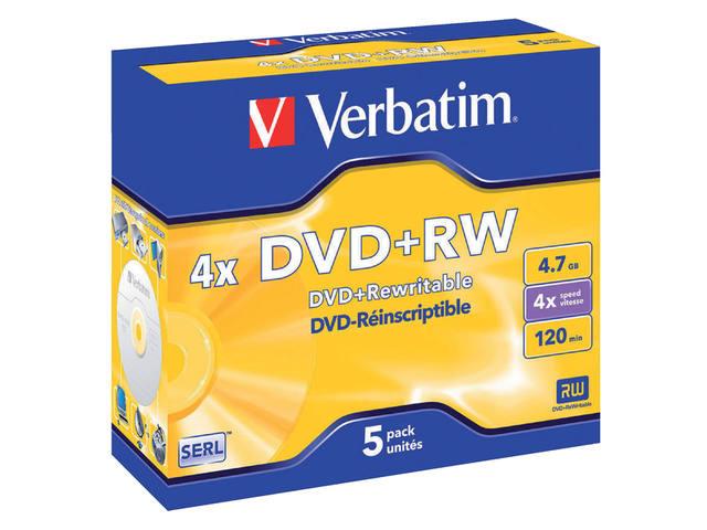 DVD+RW VERBATIM 4.7GB 4X 5PK JC