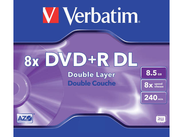 DVD+R VERBATIM 8.5GB 8X DOUBLE LAYER 5PK JC