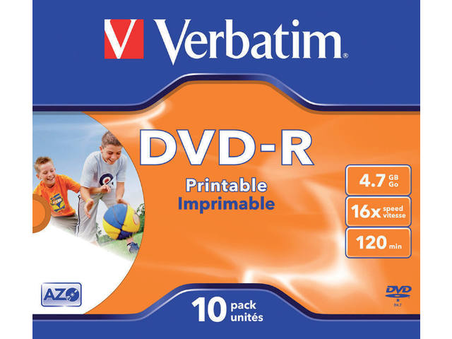 DVD-R VERBATIM 4.7GB 16X PRINTABLE 10PK JC
