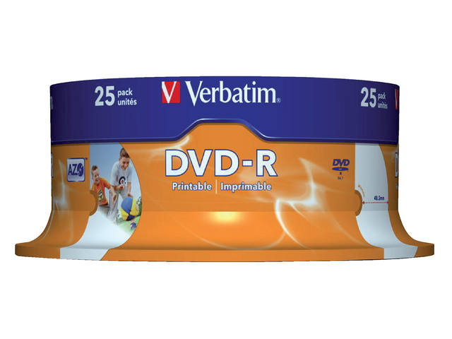 DVD-R VERBATIM 4.7GB 16X PRINTABLE 25PK SPINDEL