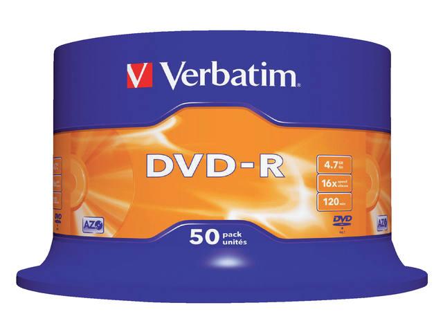 DVD-R VERBATIM 4.7GB 16X 50PK SPINDEL