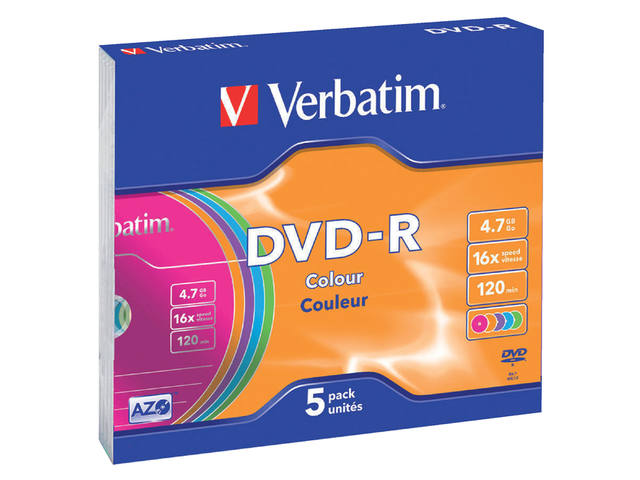 DVD-R VERBATIM 4.7GB 16X COLOUR 5PK SLIMLINE JC