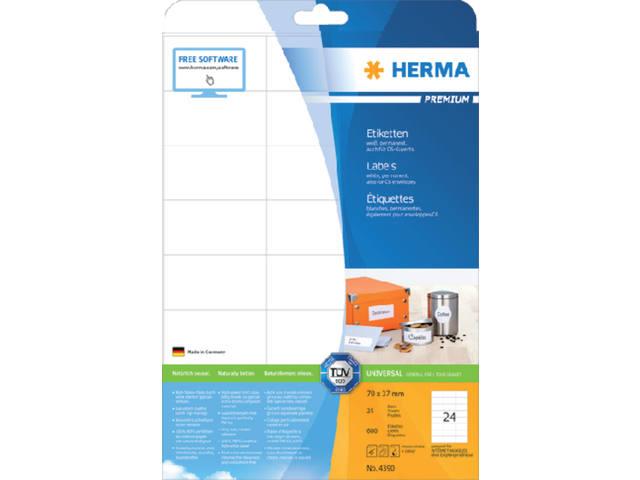 ETIKET HERMA 4390 70X37MM PREMIUM A4 600ST 1