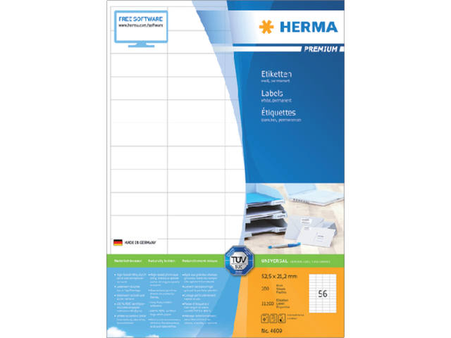 ETIKET HERMA 4609 52.5X21.2MM PREMIUM A4 11200ST