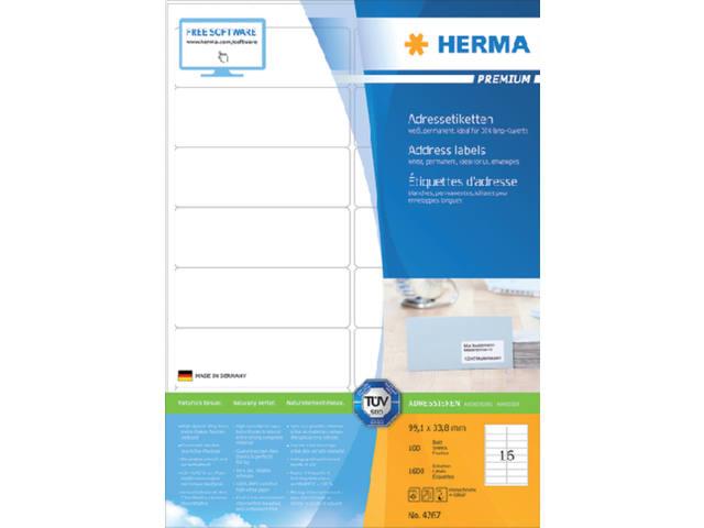 ETIKET HERMA 4267 99.1X33.8MM PREMIUM A4 1600ST