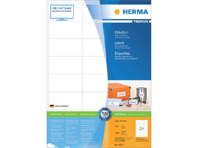 ETIKET HERMA 4615 70X37MM PREMIUM A4 4800ST