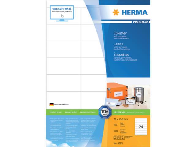 ETIKET HERMA 4263 70X33.8MM PREMIUM A4 2400ST 1