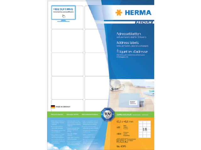 ETIKET HERMA 4265 63.5X46.6MM PREMIUM A4 1800ST 1