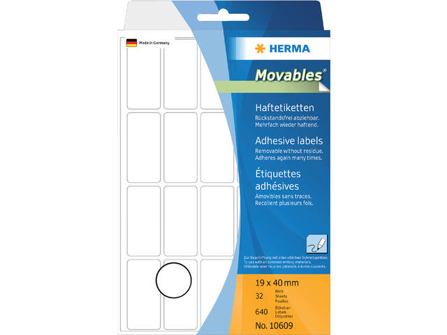 ETIKET HERMA MOVABLE 10609 19X40MM 640ST
