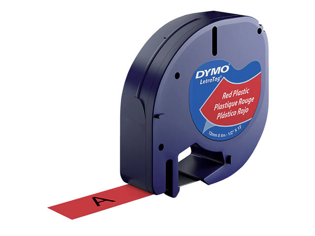 LABELTAPE DYMO 91203 12MMX4M LETRATAG ROOD/ZWART