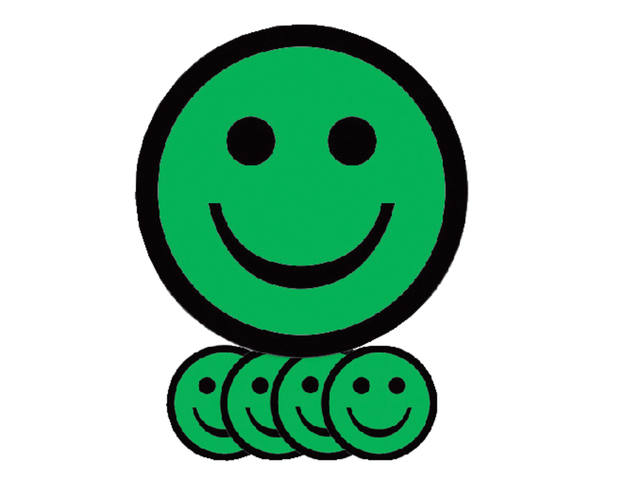 MAGNEET SMILEY 7.5CM EMOTIE BLIJ GROEN