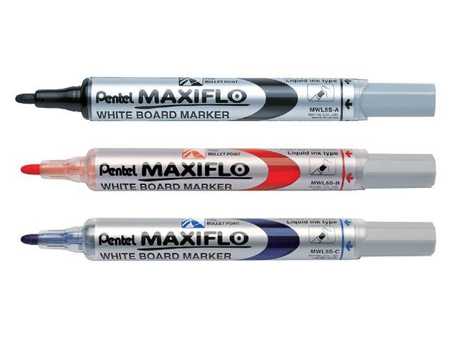 VILTSTIFT PENTEL MWL5 WHITEBOARD MAXIFLO 1MM BLAUW 2