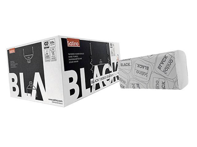 HANDDOEK SATINO BLACK 25X23CM 1-LAAGS ZIGZAG