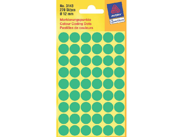 ETIKET AVERY ZWECK 3143 12MM GROEN 270ST