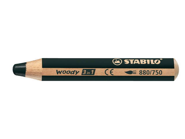 KLEURPOTLOOD STABILO WOODY 880 3IN1 ZWART